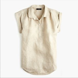 J. Crew • Collared Popover Shirt Cross-Dyed Linen